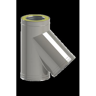 Трійник 45° для димоходу двостінний сендвіч з нержавіючої сталі